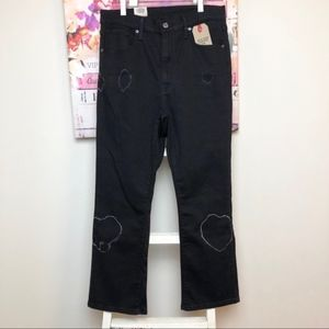 NWT! Levi's Black Mile High Cropped Flared Jeans